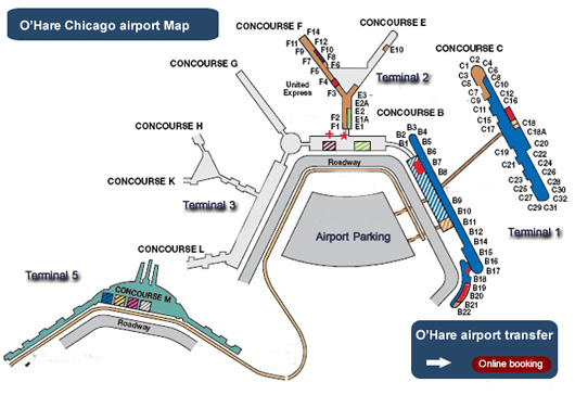 Map of terminals at O'Hare airport - ORD Chicago O Hare Map on